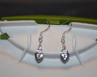 Sterling Silver Heart Lock Earrings