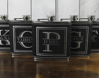 Flask/Engraved/Leatherette/Split Letter/Initial/Groom Gift/Groomsmen/Bachelor Party/Father's Day/Flask/Color Choice/Personalized
