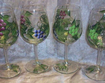 Hand painted grape design wine glasses, set of 4