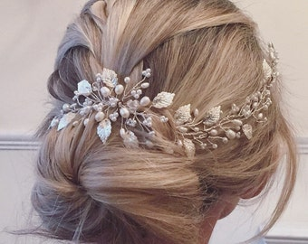Laura Hairvine - Wedding Hair Vine, Bridal Accessories, Hairpiece, Tiara, Headpiece, Pearl, Crystal, Vintage, Boho