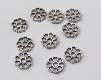 Set of 10 beads 9 x 1.5 mm silver metal flower spacers