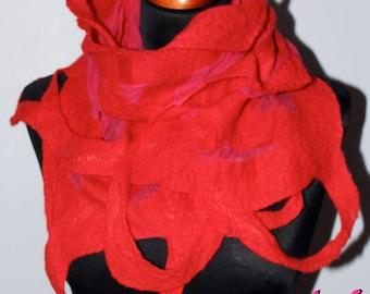 Handmade Merino Wool Felted Loop Red Silk Scarf Wearable Art