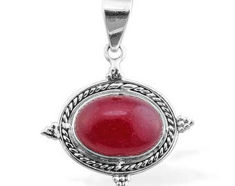 Natural Red Jade Pendant/ Sterling Silver Pendant/ Fine Jewelry/ Stone Pendant/ Red Color Stone Pendant