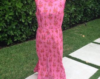 Vintage 60s Floral Maxi Dress Large  Flower Print Exotic Tropical Long Dress 1960s Hawaiian Island Dress pink orange green