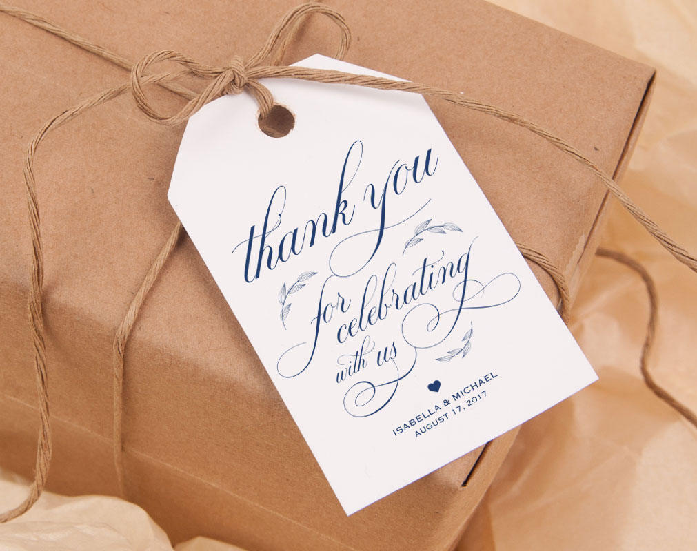 Navy Blue Thank You Tag Gift Tags Wedding Thank You Tags