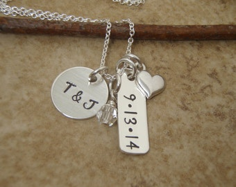 Couples initials - Personalized Wedding date necklace - Dainty charm cluster jewelry- Engagement necklace - Photo NOT actual size