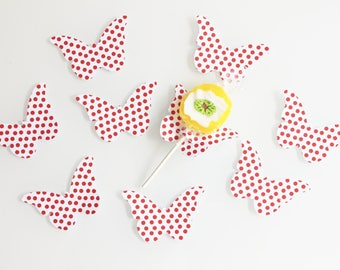 10 paper Butterfly with red dots for lollipops - party table decoration