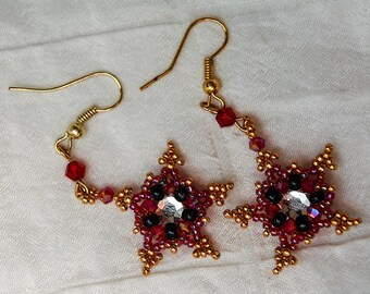 Crystal Star Earrings in Red, Black, and Gold