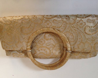 Folding Gold Brocade Clutch