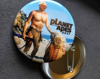 THREE Bernie Sanders Planet of the Apes 2017 Pinback Buttons