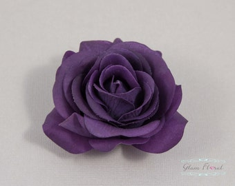 Purple Rose Hair Clip / Brooch / Corsage, Petite Real Touch Rose Fascinator