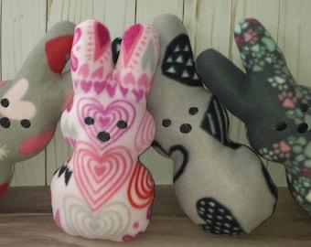 Stuffed Valentine or Easter Peep Design Bunnies