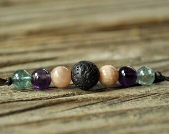 Diffuser Bracelet, Sunstone, Amethyst, Apatite, Aromatherapy, Healing Bracelet, Essential Oil Diffuser Bracelet, Yoga, Diffuser Jewelry