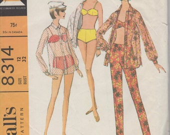 Bust 32-1970's Misses Beach Shirt, Pants and Bathing Suit McCall's 8314 Size 12