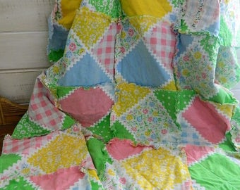 Patchwork rag Quilt - Cotton Quilted Rag throw