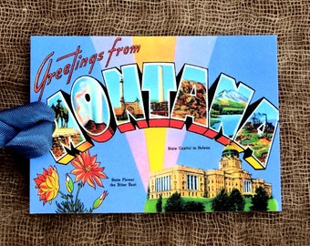 Greetings From Montana Large Letter Souvenir Postcard Gift or Scrapbook Tags or Magnet #G 36