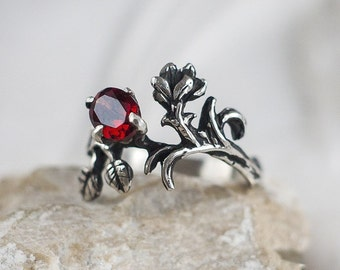 "Sterling Silver Natural Ruby Garnet Ring ""Rhiannon"". Garnet, Engagement Garnet Ring, Flower Ring, Delicate Garnet Ring, Wedding Ring,"