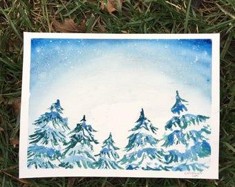 Snowy Pines- Original Painting