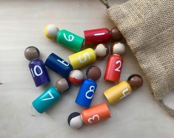 Painted Peg Dolls - Number Peg Dolls - Angel Dolls - Waldorf - Wooden - Hand Painted - Handmade