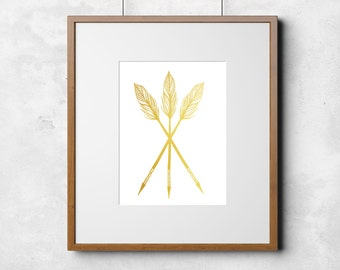 Gold Foil Arrows Tribal Print 8x10 or 11x14  Matte Options
