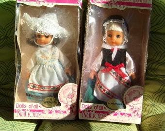 Vintage Dolls of All Nations, Collectible dolls, old dolls, bookshelf dolls, gift for her, Dolls in original box