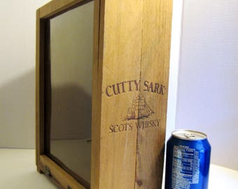 Vintage CUTTY SARK Scotch Whisky Scots, Wooden Lidded Hinged Empty BOX Whiskey, Rope Handle
