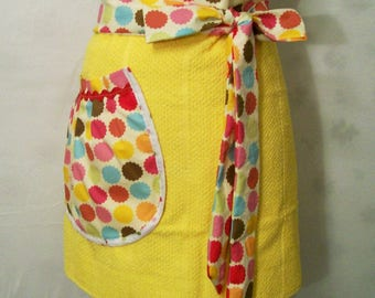 Woman's Yellow Half Apron, Towel Half Apron, Kitchen Apron, Handmade, Gift for Mom, Cooking Serving Apron, USA Made, #26A