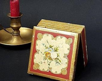 SALE Florentine Hand Painted Wood Box , Antique Italian Flowers trinket box Boho style Wedding Ring Box ,Country decor Jewelry Carved Box