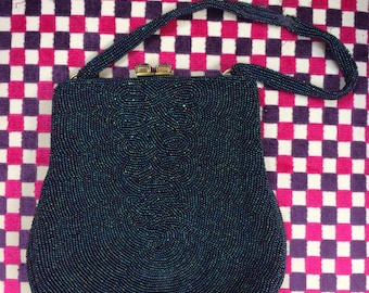 Exquisite Vintage Blue Beaded Evening Bag