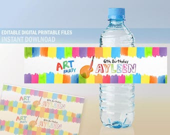 Art Party Water Bottle Labels, Art Birthday Party Water Bottle Labels for print, Editable Water Bottle Labels, Instant Download, DIY