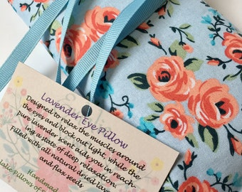 Bridal Party Rose Print Eye Pillow, Lavender Eye Bag, Best Friend Gift, Aromatherapy Eye Mask, Sleep Mask, Baby Shower, Yoga, Bridal Shower