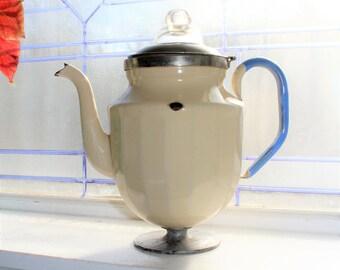 Enamelware Coffee Pot Tan Vintage 1930s Rustic Farmhouse Decor