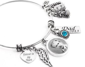 Personalized Photo,  Memorial Bangle Bracelet, Custom Bangle Bracelet, Name Bangle, Birthstone Bangle, Sizing Childs thru Extra Lage
