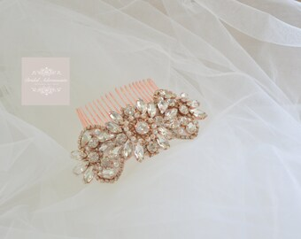 """Rose Gold """"Marie""""Crystal and Pearl Bridal Comb"""