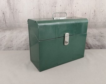 Industrial Art Deco Teal Green Metal File Box with Handle Vintage CLIMAX Portable File Box Mid Century Metal Office Storage Box Made In USA
