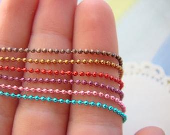 1.5 mm Ball Chain Add On - Coffee, Copper, Red, Purple, Pink, Aqua