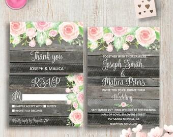 Printable Wedding Invitation Suite DIY Wedding Invitations Blush Wedding Invitations Customizable Wedding Invitation Set Custom Wedding Set
