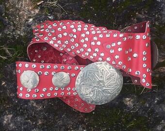 Vintage Moroccan Red Leather Belt