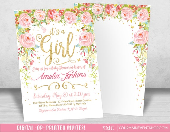 Whimsical Girl Baby Shower Invitation, Foral Garden Butterfly Baby Shower Invite, Baby Sprinkle, Printable It's a Girl Invitation