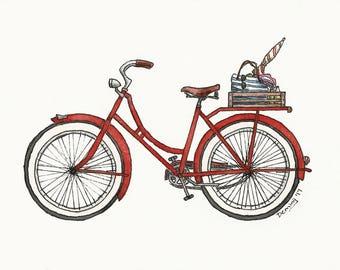 Beach Bike - Watercolor Print - Art Print - Vintage Bike Art - Red Bike - Summer Bike