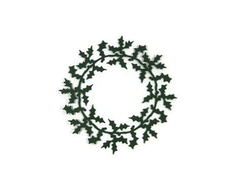 Large Detailed Paper Holly Wreath Die Cut Set of 6