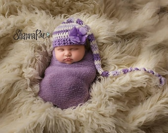 Baby Girl Hat/ Newborn Pixie Hat/ Long Tail Pixie Hat/ Crochet Elf Hat/ Newborn Long Tail Pixie Hat/Lavender Purple And White Hat