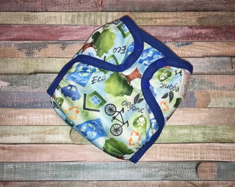 Earth Day Poly PUL Cloth Diaper Cover With Aplix Hook&Loop Or Snaps You Pick Size XS/Newborn, Small, Medium, Large, or One Size