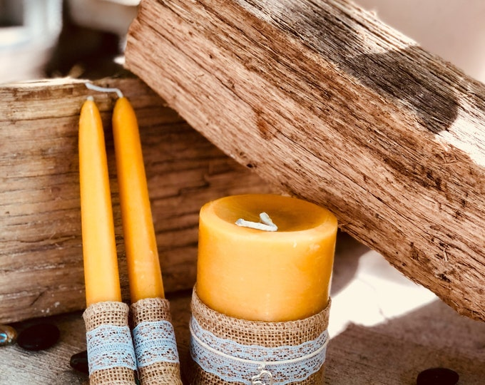 Unity Candle Set-Wedding Candles Set-100% Pure Beeswax unity candle set-beeswax unity candles-organic beeswax candles-unity candles set