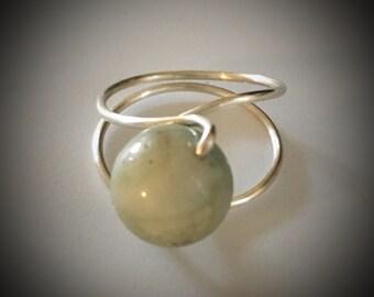 Amazonite Silver Wrap Ring