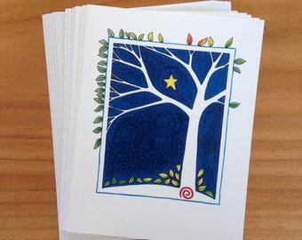 6 blank cards - Leafy Tree