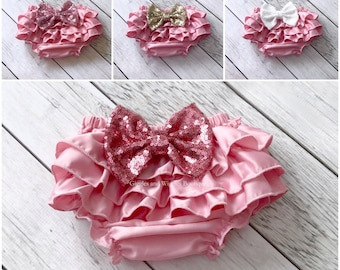 Pink ruffle diaper cover, infant girl bloomer, baby diaper cover, newborn girl outfit, 1st birthday, dusty pink satin, coming home outfit