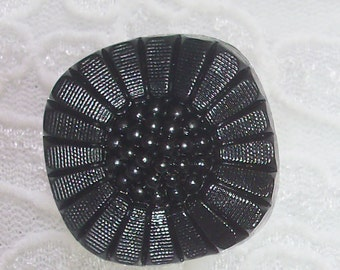 3 Buttons, Dimensional 1 inch Square Black Flower, Lightweight, Great Texture
