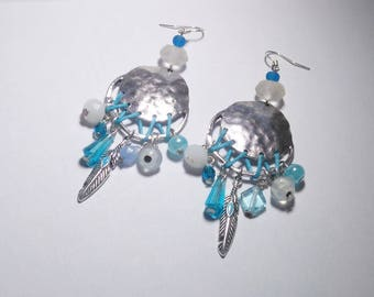 Long earrings metal and glass beads ~ blue & white ~
