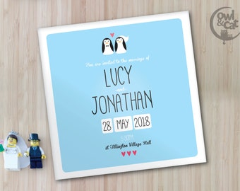 Wedding invitations - penguin design - 50 invites with envelopes - custom colours available